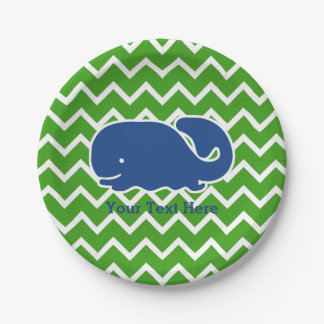 Personalized Nautical Blue Whale Chevron pattern Paper Plate