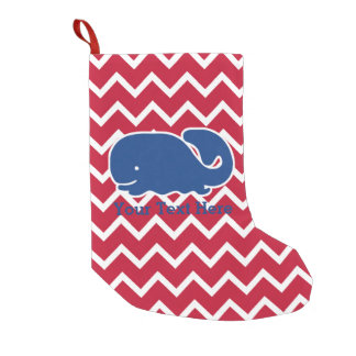 Personalized Nautical Blue Whale Chevron pattern Small Christmas Stocking