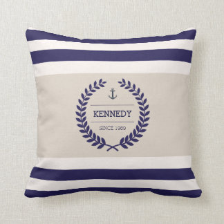 Personalized Nautical Family Crest Stripe Pattern Cushion