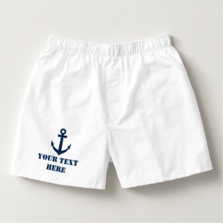 Personalized nautical navy anchor boxer shorts boxers