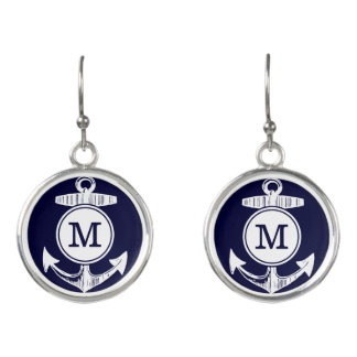 Personalized Nautical Navy Anchor Custom Earrings