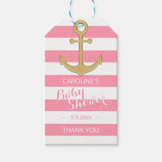 Personalized Nautical Pink Anchor Baby Shower Gift Tags