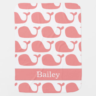 Personalized Nautical Pink Whales Baby Blanket