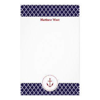 Personalized Nautical Quatrefoil Stationery