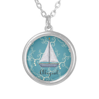 Personalized Nautical Sailboat and Swirling Water Silver Plated Necklace
