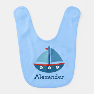 Personalized nautical sailboat baby bib with name