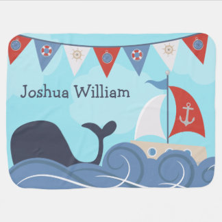 Personalized Nautical Sailboat Beach Ocean Whale Baby Blanket