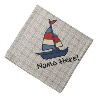 Personalized Nautical Sailboat Blue/Tan Boy's Bandana