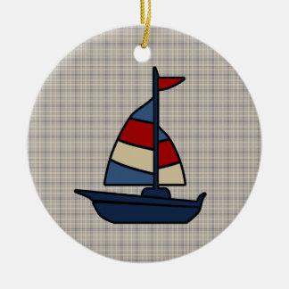 Personalized Nautical Sailboat Blue/Tan Boy's Christmas Ornament