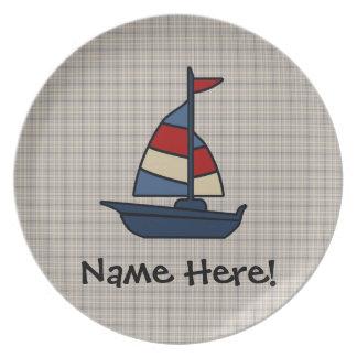 Personalized Nautical Sailboat Blue/Tan Boy's Plates