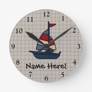 Personalized Nautical Sailboat Blue/Tan Boy's Round Clock