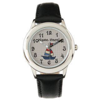 Personalized Nautical Sailboat Blue/Tan Boy's Watch