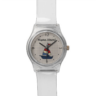 Personalized Nautical Sailboat Blue/Tan Boy's Watch