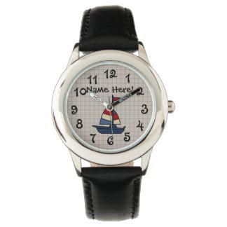 Personalized Nautical Sailboat Blue/Tan Boy's Wristwatch