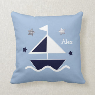 "Personalized ""Nautical/Sailboat/Stars"" Pillow"