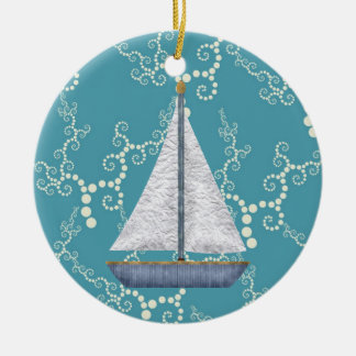 Personalized Nautical Sailboat Swirling Water Christmas Ornament