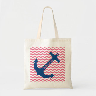 Personalized Navy Anchor & Pink Zigzag Tote Bag