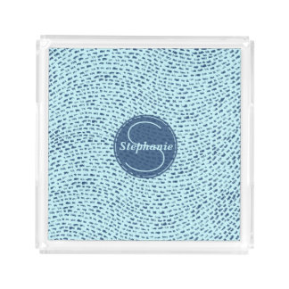 Personalized Navy and Powder Blue Dash Marks