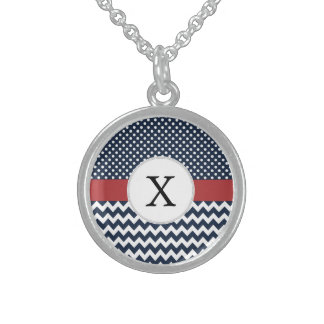 Personalized Navy and white nautical pattern Sterling Silver Necklace