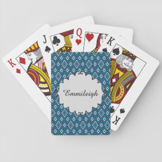 Personalized Navy Blue and White Diamond Pattern Playing Cards