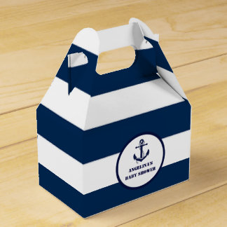 Personalized Navy Blue Boy Nautical Baby Shower Party Favour Box