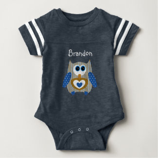 Personalized Navy Blue Brown Owl Baby One Piece Baby Bodysuit
