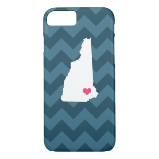 Personalized Navy Blue Chevron New Hampshire Heart iPhone 7 Case