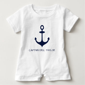 Personalized Navy Blue Nautical Anchor Baby Bodysuit