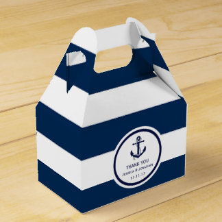 Personalized Navy Blue Nautical Wedding Favor Favour Box