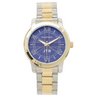 Personalized Navy Blue Union Jack Dial Wrist Watches