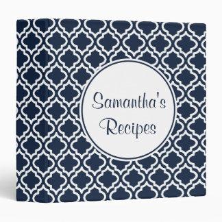 Personalized Navy Kitchen Recipe Organizer Binder
