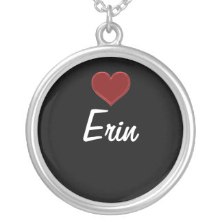 Personalized Necklace-ERIN Sterling Silver Cool! Round Pendant Necklace