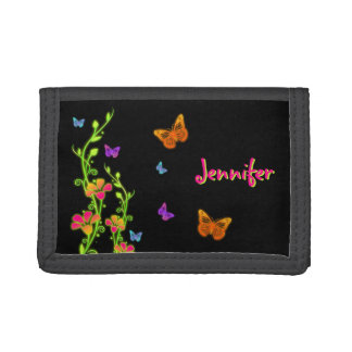 Personalized Neon Butterflies & Flowers Wallet