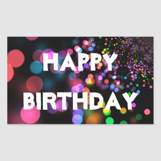 Personalized Neon Colorful Bokeh Happy Birthday Rectangular Sticker