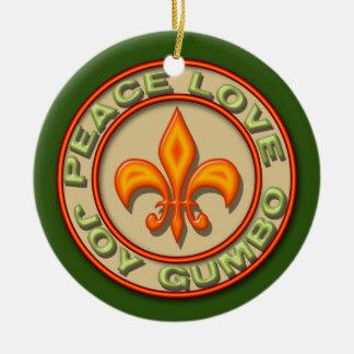 Personalized Neon Fleur de Lis Peace Love Gumbo Round Ceramic Decoration