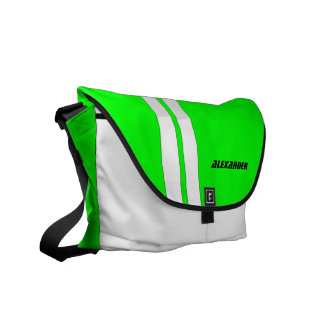 Personalized Neon Green Racing Stripe Messenger Commuter Bag