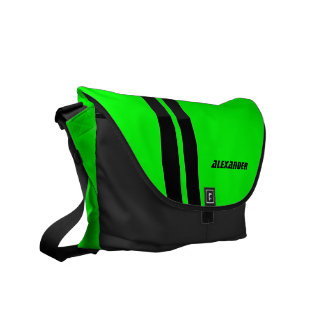Personalized Neon Green Racing Stripe Messenger Messenger Bags