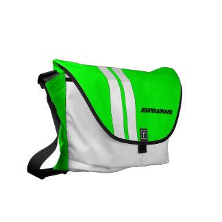 Personalized Neon Green Racing Stripe Messenger Messenger Bag