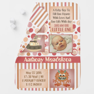 Personalized neutral baby birth stats receiving blankets
