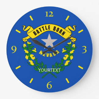 Personalized Nevada State Flag Design on a Wall Clock