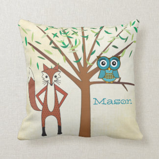 Personalized New Baby Boy's Room Cute Fox and Owl Cushion