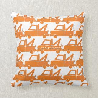 Personalized New Baby Boy's Room Orange Dump Truck Cushion