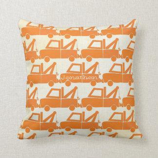 Personalized New Baby Boy's Room Orange Dump Truck Throw Pillow