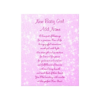 Personalized New Baby Girl Canvas Print