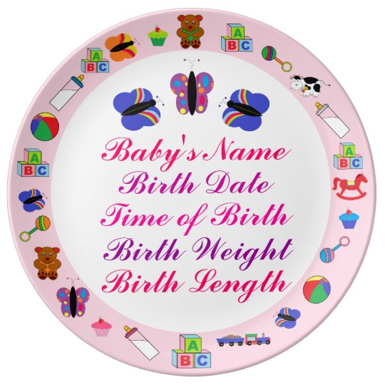 PERSONALIZED New Baby Girl Porcelain Plate