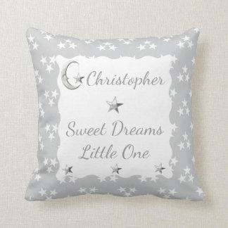 Personalized new baby Gray and white Stars Throw Pillow