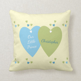 Personalized new baby Prince Blue and Green Cushion