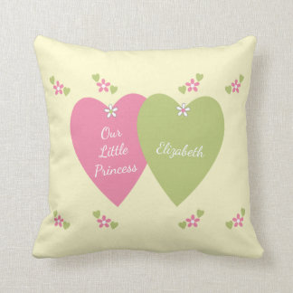 Personalized new baby Princess Pink and Green Cushion