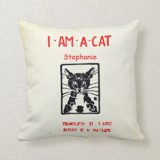 Personalized New Baby s Room I am a Cat Throw Pillow