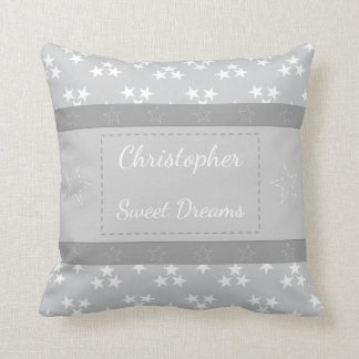 Personalized new baby Silver gray and white Stars Throw Pillow